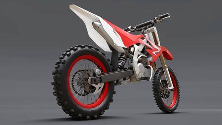 Red and white sport bike for cross-country on a gray background. Racing Sport bike. Modern Super cross Motocross Dirt Bike. 3D Rendering