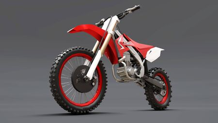Red and white sport bike for cross-country on a gray background. Racing Sportbike. Modern Supercross Motocross Dirt Bike. 3D Rendering