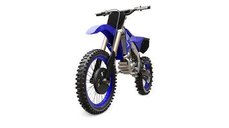 Blue and black sport bike for cross-country on a white background. Racing Sportbike. Modern Supercross Motocross Dirt Bike. 3D Rendering
