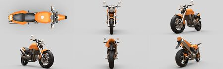 Set orange urban sport two-seater motorcycle on a gray background. 3d illustration