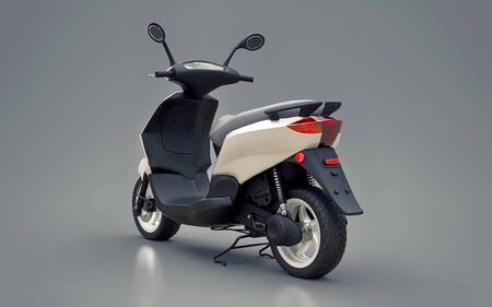 Modern urban white moped on a gray background. 3d illustration