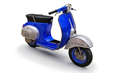 Vintage european blue scooter on a white background. 3d rendering Stock fotó