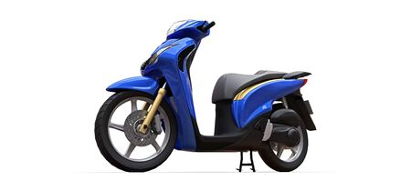 Modern urban blue moped on a white background. 3d illustration