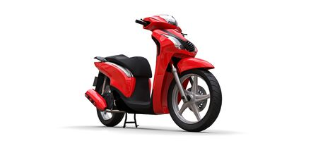 Modern urban red moped on a white background. 3d illustration Stock fotó