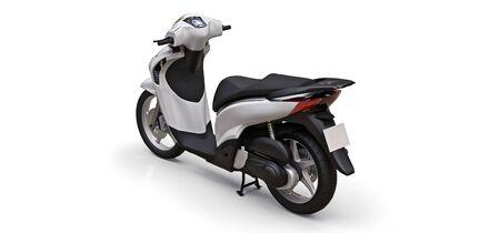 Modern urban white moped on a white background. 3d illustration