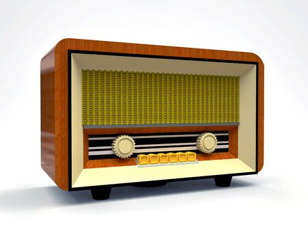 Old vintage tube radio receiver made of wood and cream plastic on a white background. Old mid-20th century radio. 3d illustration