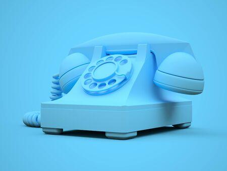 Old blue dial telephone on a blue background. 3d illustration Stock fotó
