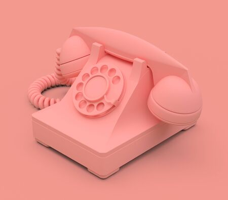Old pink dial telephone on a pink background. 3d illustration