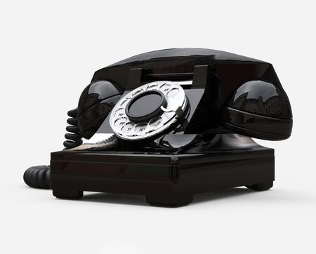 Old black dial telephone on a white background. 3d illustration