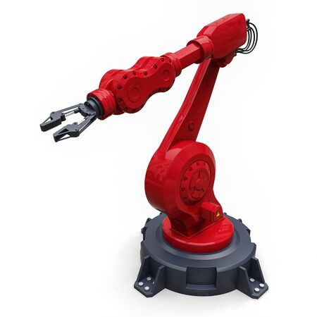 Robotic red arm for any work in a factory or production. Mechatronic equipment for complex tasks. 3d illustration