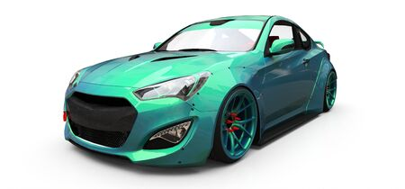 Green small sports car coupe. 3d rendering Stock fotó
