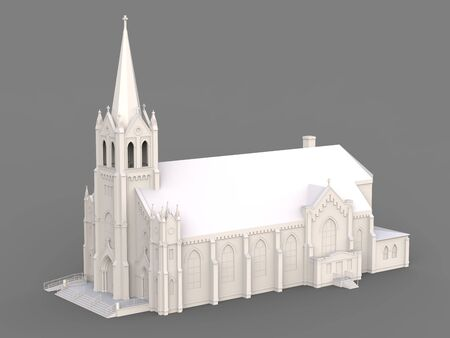 The building of the Catholic church, views from different sides. Three-dimensional white illustration on a gray background. 3d rendering