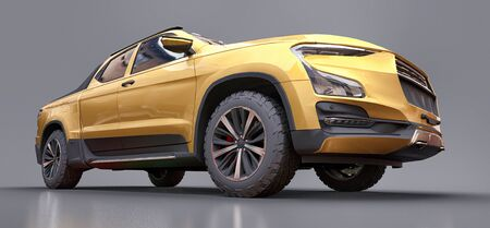 3D illustration of yellow concept cargo pickup truck on grey isolated background. 3d rendering
