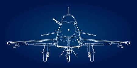 Military jet fighter silhouettes. Image of aircraft in contour drawing lines