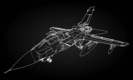Silhouettes de chasseurs à réaction militaires. Image d'avion dans les lignes de dessin de contour. La structure interne de l'avion