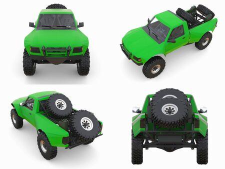 Set most prepared green sports race truck for the desert terrain. 3d illustration