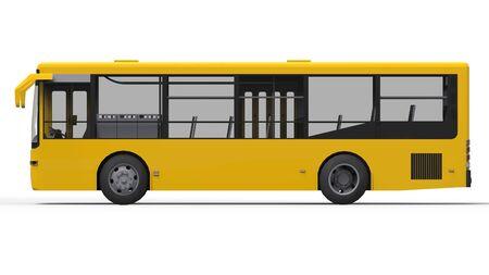 Pequeño autobús urbano amarillo sobre un fondo blanco. Representación 3d