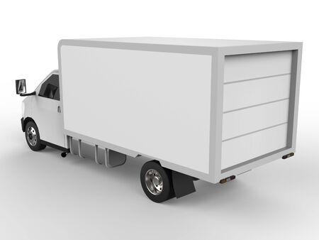 Pequeño camión blanco. Servicio de entrega de autos. Entrega de bienes y productos a puntos de venta. Representación 3d
