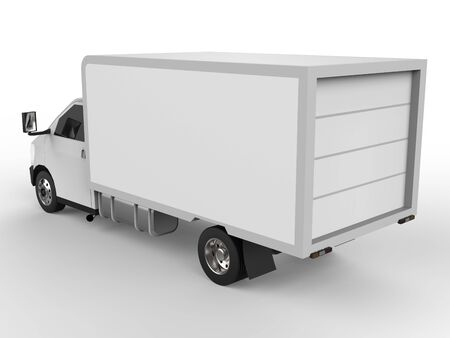 Small white truck. Car delivery service. Delivery of goods and products to retail outlets. 3d rendering