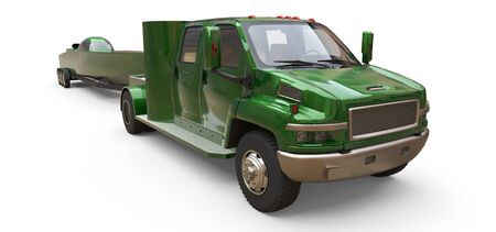 Green truck with a trailer for transporting a racing boat on a white background. 3d rendering Stock Photo