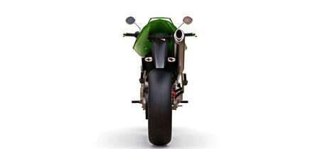 Green urban sport two-seater motorcycle on a white background. 3d illustration