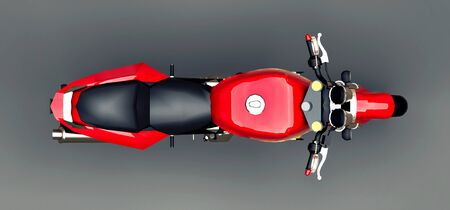 Red urban sport two-seater motorcycle on a gray background. 3d illustration