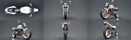 Set white urban sport two-seater motorcycle on a gray background. 3d illustration