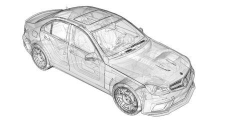 Une voiture de sport super rapide transparente a délimité des lignes sur fond blanc. Berline en forme de carrosserie. Tuning est une version d'une voiture familiale ordinaire. rendu 3D