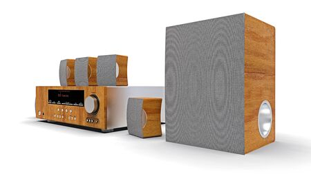 DVD receiver and home theater system with speakers and subwoofer made of aluminum and wood. 3d illustration
