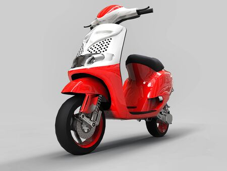 Modern urban red and white moped on a light gray background. 3d illustration