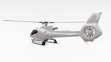White helicopter isolated on the white background. 3d rendering Stock Photo