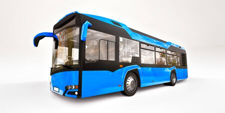 Mediun urban blue bus on a white isolated background. 3d rendering Banque d'images