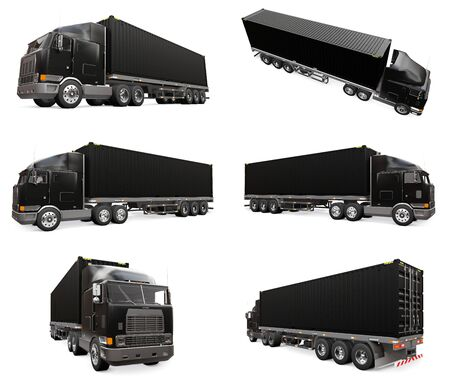 Set large retro black truck with a sleeping part and an aerodynamic extension carries a trailer with a sea container. 3d rendering Stock Photo