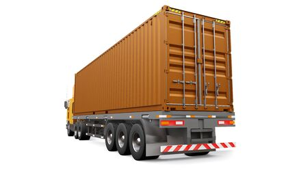 A large retro orange truck with a sleeping part and an aerodynamic extension carries a trailer with a sea container. 3d rendering