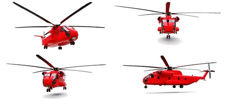 Set military transport or rescue red helicopter on white background. 3d illustration