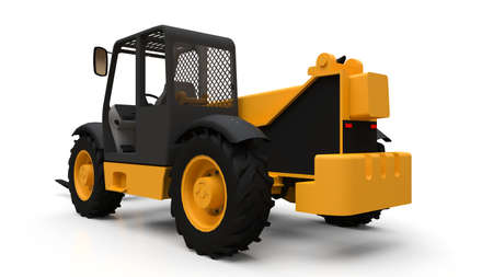 Forklift truck on a white isolated background. 3d rendering.