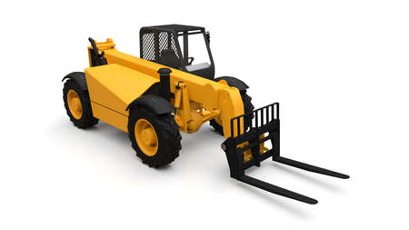 Forklift truck on a white isolated background. 3d rendering