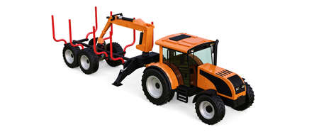 Orange tractor with a trailer for logging on a white background. 3d rendering