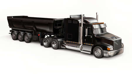 Large black American truck with a trailer type dump truck for transporting bulk cargo on a white background. 3d illustration Stock Photo