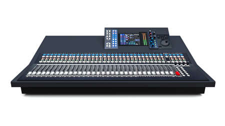 Medium-sized grey mixing console for Studio work and live performances on a white background. 3d rendering.