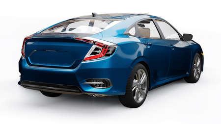 Blue mid-size urban family sedan on a white uniform background. 3d rendering.