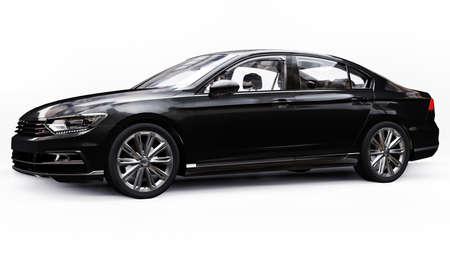 3d rendering of a brandless generic black car in a white studio environment 免版税图像