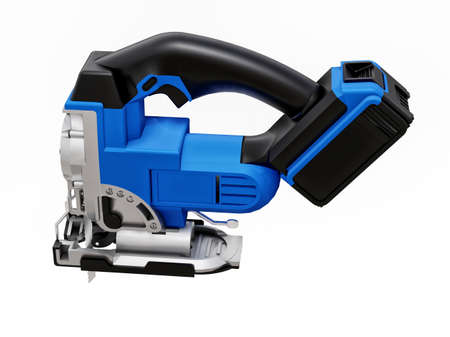 The tool is a blue electric jigsaw on a white isolated background. 3d rendering