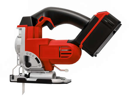 The tool is a red electric jigsaw on a white isolated background. 3d rendering