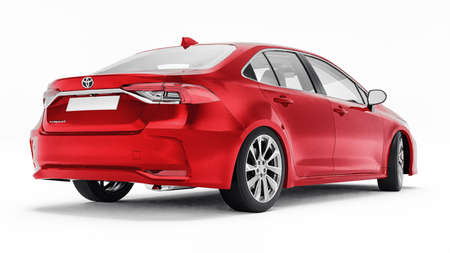 Tula, Russia. February 28, 2021: Toyota Corolla Sedan 2020 compact city red car isolated on white background. 3d rendering 新闻类图片