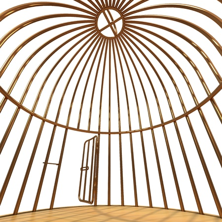 cage: inside one golden cage Stock Photo