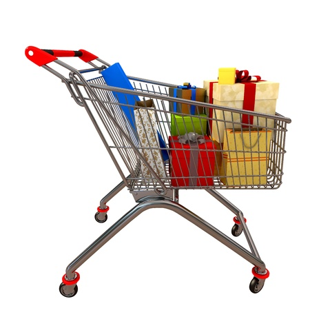 3d shopping cart full of gifts Stock Photo - 10129706