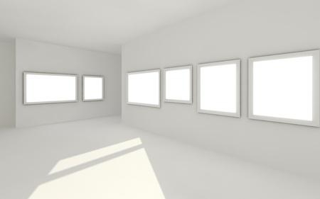 empty gallery 3d interior Stock Photo - 10207660
