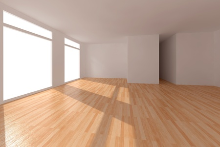 clear room with parquet 3d interior photo