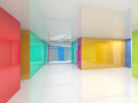 colored abstract 3d interior photo
